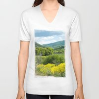 running V-neck T-shirts featuring Running  by Julie Luke