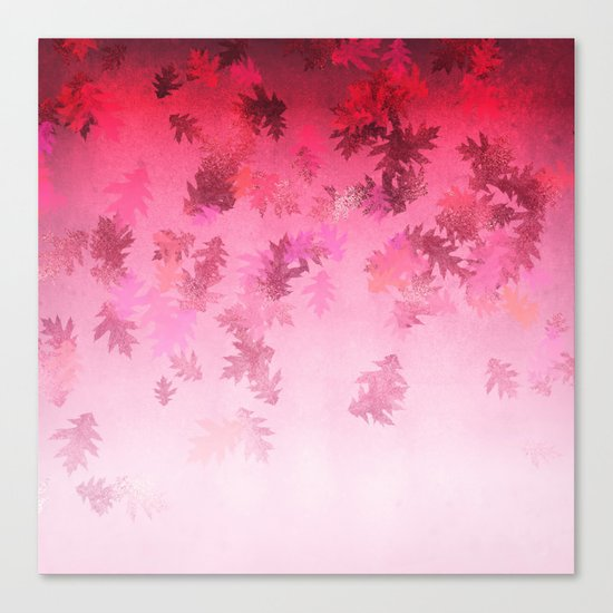 Autumn-world 4 -  leaves on pink Canvas Print