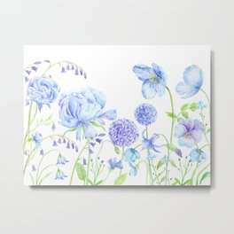 Watercolor Blue Garden Illustration Metal Print