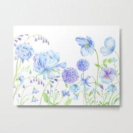Watercolor Blue Garden Illustration Metal Print