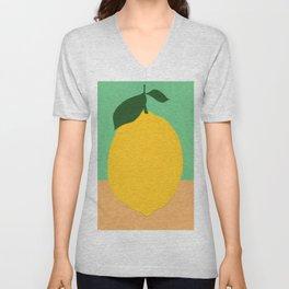Lemon With Two Leaves Unisex V-Neck