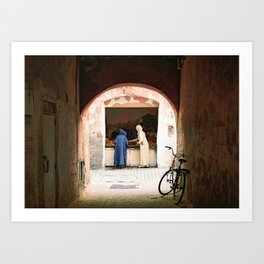 Two women at a market in the souks, Medina in Marrakech Morocco Art Print