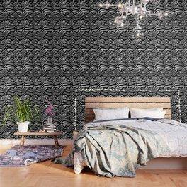 Animal Print Zebra Black and White Wallpaper
