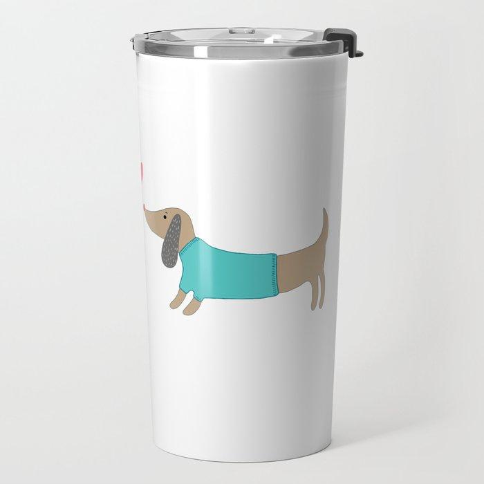 Cute dog lovers in love with heart Travel Mug