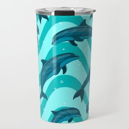 A flock of dolphins in the sea. Marine seamless pattern. Travel Mug