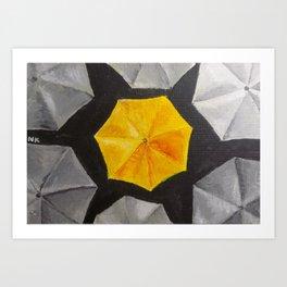 Yellow umbrella Art Print