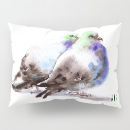 Watercolor Purple Pigeon Couple Painting by ili Pillow Sham