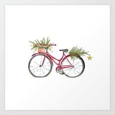 Red Christmas bicycle Art Print