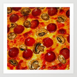 Pepperoni and Mushroom Pizza Art Print