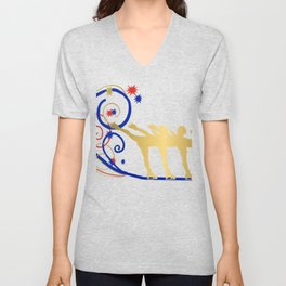 Gold Silhouette Synchro Team Graphic Design Unisex V-Neck