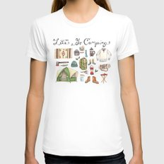 Let's Go Camping White Womens Fitted Tee MEDIUM