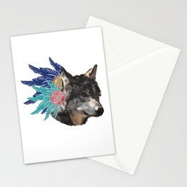 wolf with feather headdress, indians Stationery Cards