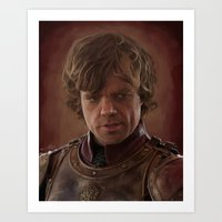 tyrion Art Prints featuring Peter Dinklage as Tyrion Lannister Digital Portrait by davidgloyolart