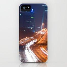 Traffic trails on the bridge iPhone Case