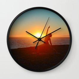 Sunset Yoga Wall Clock
