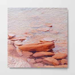 Red Stone and the Sea Metal Print