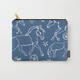 Galloping Horses, White on Navy Blue Carry-All Pouch