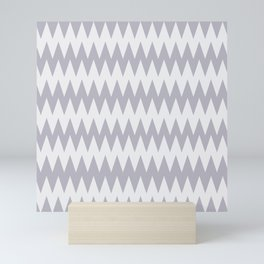 Pantone Lilac Gray and White Zigzag Pointed, Rippled Horizontal Line Pattern Mini Art Print