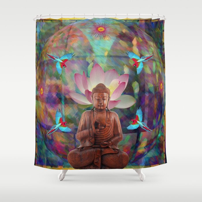 Mandala Lotus Buddha Shower Curtain
