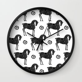 Folk Art Horse Pattern Black-White Wall Clock