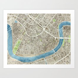 New Orleans City Map Art Print