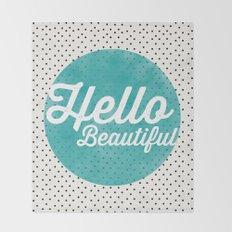 Hello Beautiful Teal Dots typography Throw Blanket