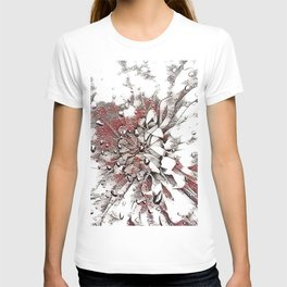 Waterdrop Flower  Grey Coral and White Sketch T-shirt