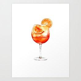 Cocktails. Aperol Spritz. Watercolor Painting. Art Print