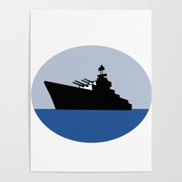 World War Two Battleship Destroyer Oval Retro Poster