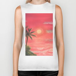 Palm trees swaying in the wind Biker Tank