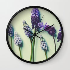 Pretty Blue Flowers Wall Clock