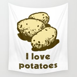 I Love Potatoes Quote Wall Tapestry