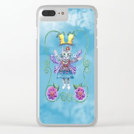 Angel Kitty (Turquoise) Clear iPhone Case