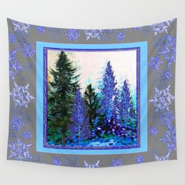 GREY WINTER SNOWFLAKE  CRYSTALS FOREST ART Wall Tapestry