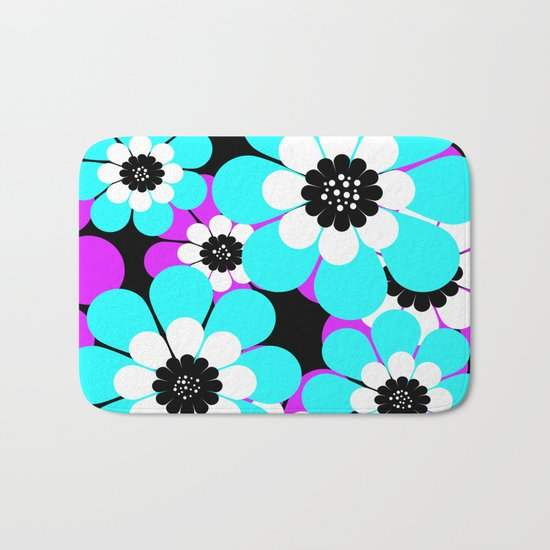 The floral pattern . Purple and turquoise flowers on a black background . Bath Mat