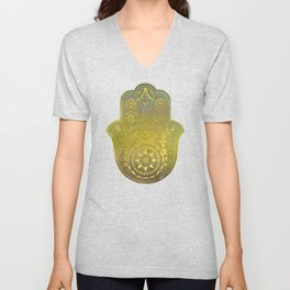 Colorful Watercolor And Gold Hamsa Hand - II Unisex V-Neck