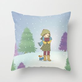 Girl and Dog in Snow Illustration Throw Pillow