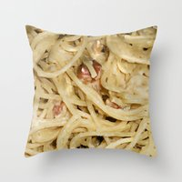 pasta Throw Pillows featuring Carbonara Pasta by Anand Brai