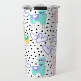 Funny cute teal pink romantic violet hearts lama polka dots Travel Mug