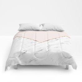 Peony blush geometric marble Comforters