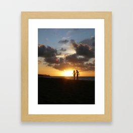 A Walk at Sunset in Hawaii Framed Art Print