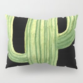 Simple Green Cactus on Black Pillow Sham