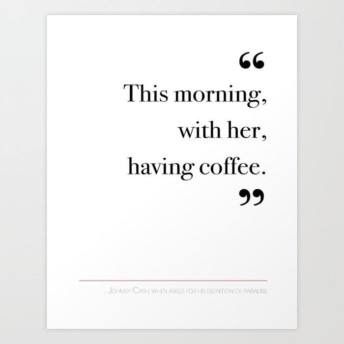 With her, having coffee Art Print