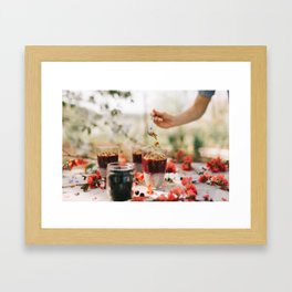 chia seeds pudding with aronia berry Framed Art Print