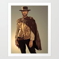 clint eastwood Art Prints featuring Clint Eastwood by Thousand Lines Ink