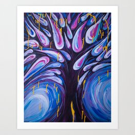 Tree Drops - Abstract Painting of Tree and Leaves Art Print