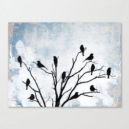 Blackbirds Tree Modern Cottage Chic Farmhouse Home Decor A503 Canvas Print