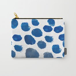 Blue Brush Dot Pattern Carry-All Pouch