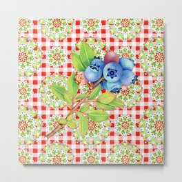 Maine Blueberry Red Gingham Mandala Metal Print