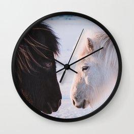 Two Icelandic Horses in snowy Landscape Wall Clock